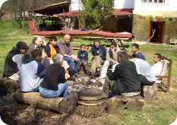 At Uszó retreat hamlet with Dhammaduta Course participants